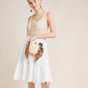ANTHROPOLOGIE  BECKETT CROCHET EYELET DRESS